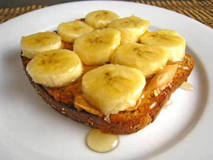 Peanut Butter, Banana and Honey Open Faced Sandwich 500